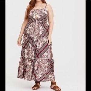 Torrid Red Scarf Print Challis Maxi Dress